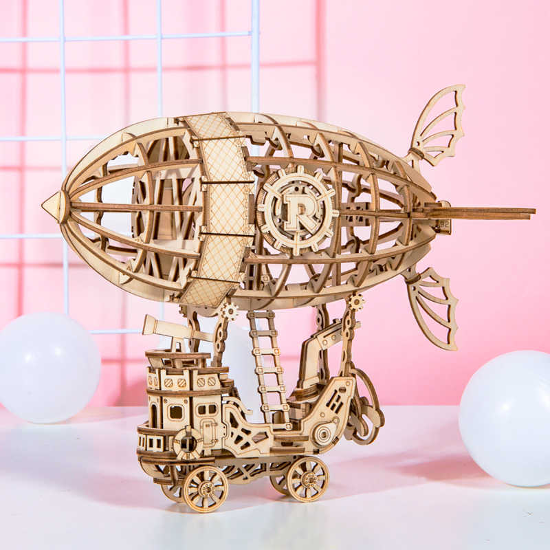 Robotime 新到着 DIY 3D 蓄音機ボックス、カボチャカート木製パズルゲームアセンブリ人気おもちゃのギフト大人 TG408