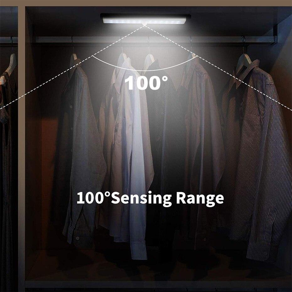 Image 3 - 24 40 60 LED Closet Light USB Rechargeable Under Cabinet Lightening Stick on Motion Sensor Wardrobe Light with Magnetic StripUnder Cabinet Lights   -