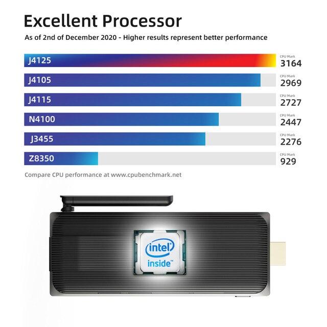 Intel Celeron J4125 Quad Core 8GB 128GB J4105  J3455 4K Fanless Mini PC Windows 10 Pro MeLE PC Stick Mini Computer HDMI WiFi LAN 2
