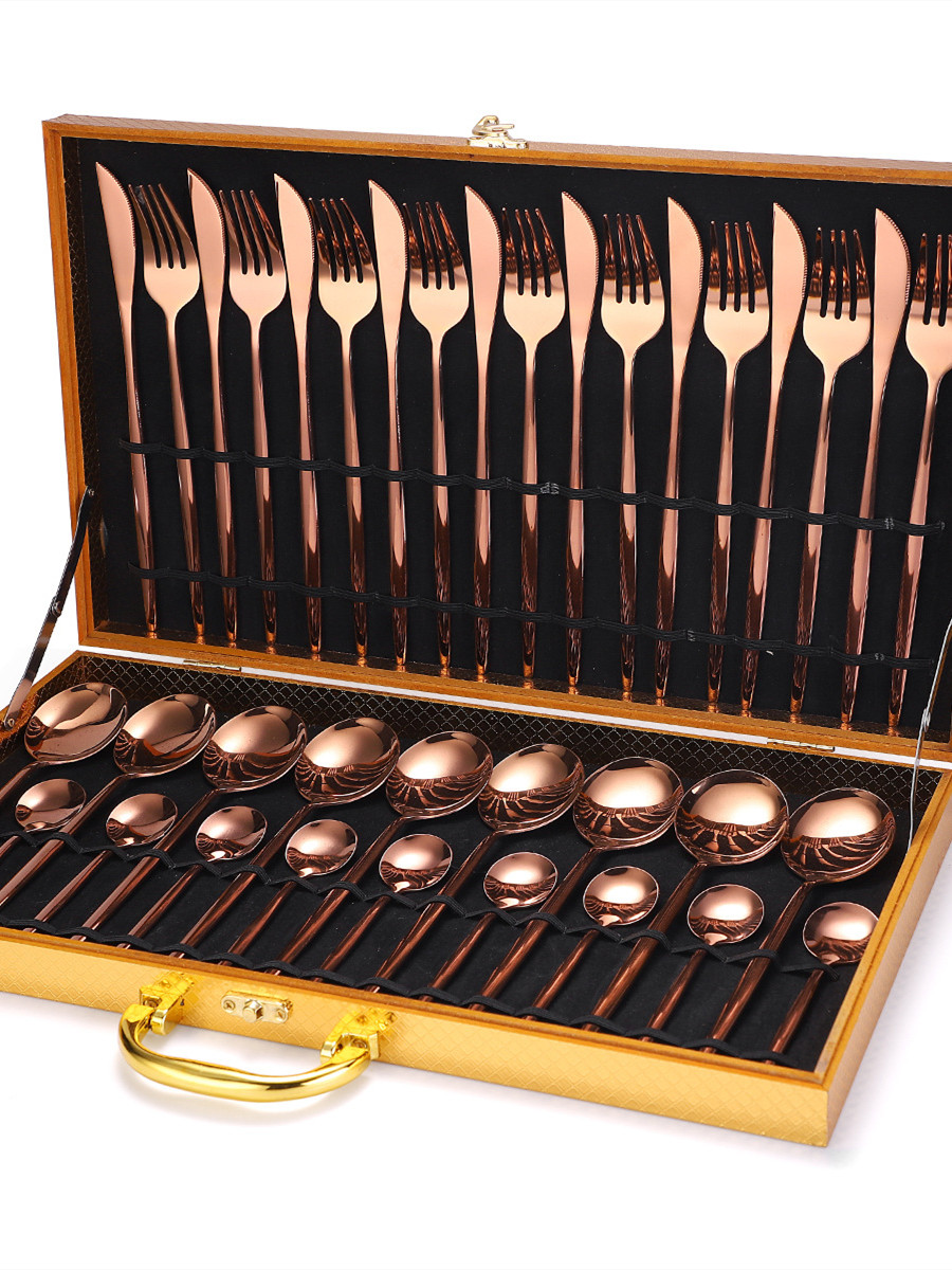 Gold Cutlery Knife-Fork Teaspoon Steak Wedding-Party Travel 24pcs/Set Luxury Noble Home