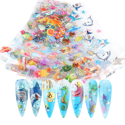 10 pcs Ocean Animals Holographic Nail Art Transfer Foil Set Nail Art Decoration Designs DIY Sticker Decals for Manicure GLSW7015