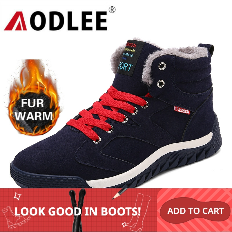 AODLEE Boots Men Plus Size 48 Men Winter Warm Snow Boots High Top Fur Boots Fashion Sneakers Men Ankle Boots Mens Shoes Casual