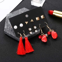 2019 ethnic boho tassel earrings geometric irregular lmitation stone dangle fashion simulated pearl wedding jewelry