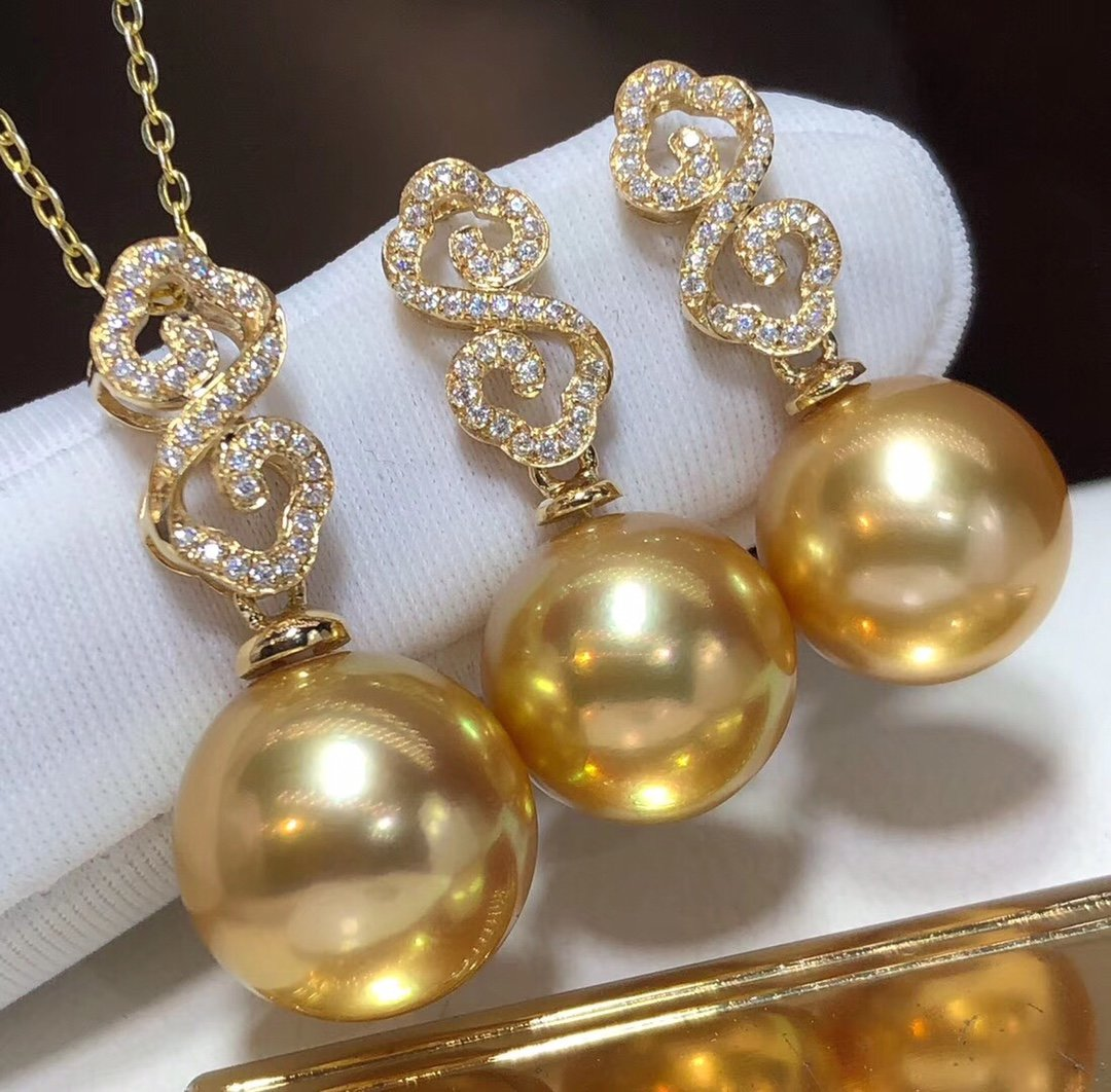D117 Fine Jewelry 18K Gold Natural Ocean Sea Golden Pearls 10-13mm Diamonds Female's Jewelry Sets for Women FIne Jewelry Sets
