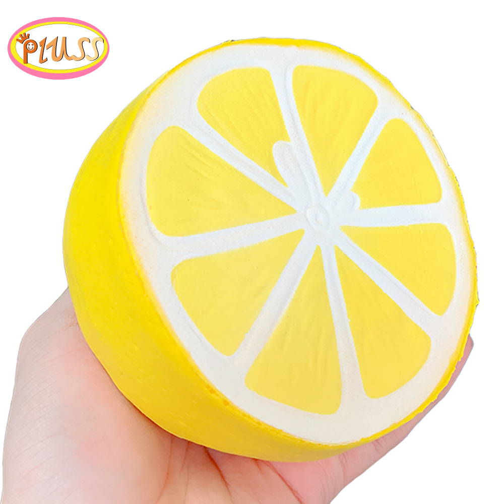 Jumbo Kawaii Lemon Squishy Simulation Fruit PU Soft Slow Rising Squeeze Toys Phone Straps Scented Stress Relief Kid Toy Gift