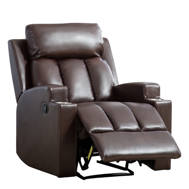Leather Recliner Chair with 2 Cup Holders for Contemporary Theater Seating 2