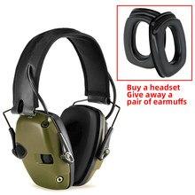 Fones de ouvido eletrônicos táticos da proteção auditiva da amplificação do som do anti-ruído do tiro para enviar um par esponja earmuff