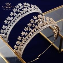 цены Elegant Sparkling Full Zircon Bridal Tiaras Headpiece Crystal Crowns Headbands Wedding Hair Accessory