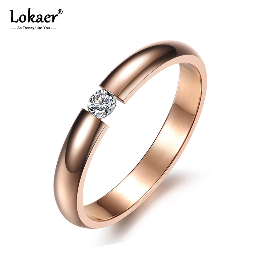 Lokaer Crystal-Ring Jewelry Wedding-Engagement-Ring Stainless-Steel Women Gifts White/black-Color