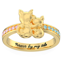 Sweey Dropshipping Customized Couple Cats Promise Ring with Birthstone Personalized Two Cats' Back Ring Perfect Gift for Women