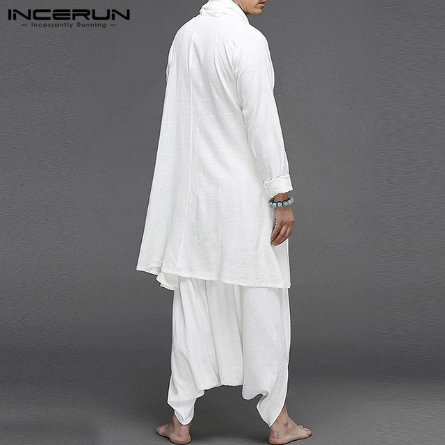 INCERUN Solid Color Men Sets Cotton Streetwear Turtleneck Long Sleeve Irregular Cloak Coats Drop Crotch Pants Vintage Mens Suits 4
