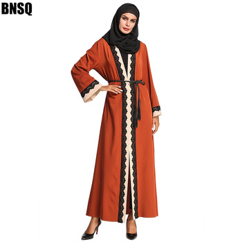 BNSQ Muslim Abaya Full Dress Kimono Long Robe Gowns Jubah Dubai Middle East Ramadan Arab Islamic Clothes Lace Scarf