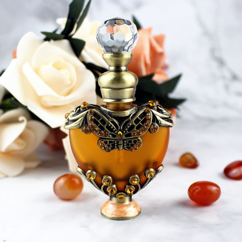 10ml Antique Perfume Bottle Heart Shaped Glass Essential Oil Bottle Empty Cosmetic Container Craft Decoration Gift For Christmas