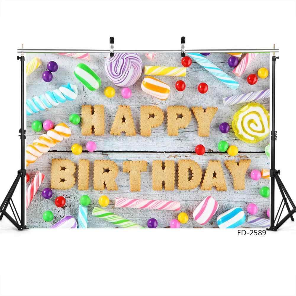Feliz cumpleaños fiesta Banner tablero de madera pared telón de fondo decoración Baby Shower recién nacido fotografía FONDO PARA Utilería de estudio de fotografía