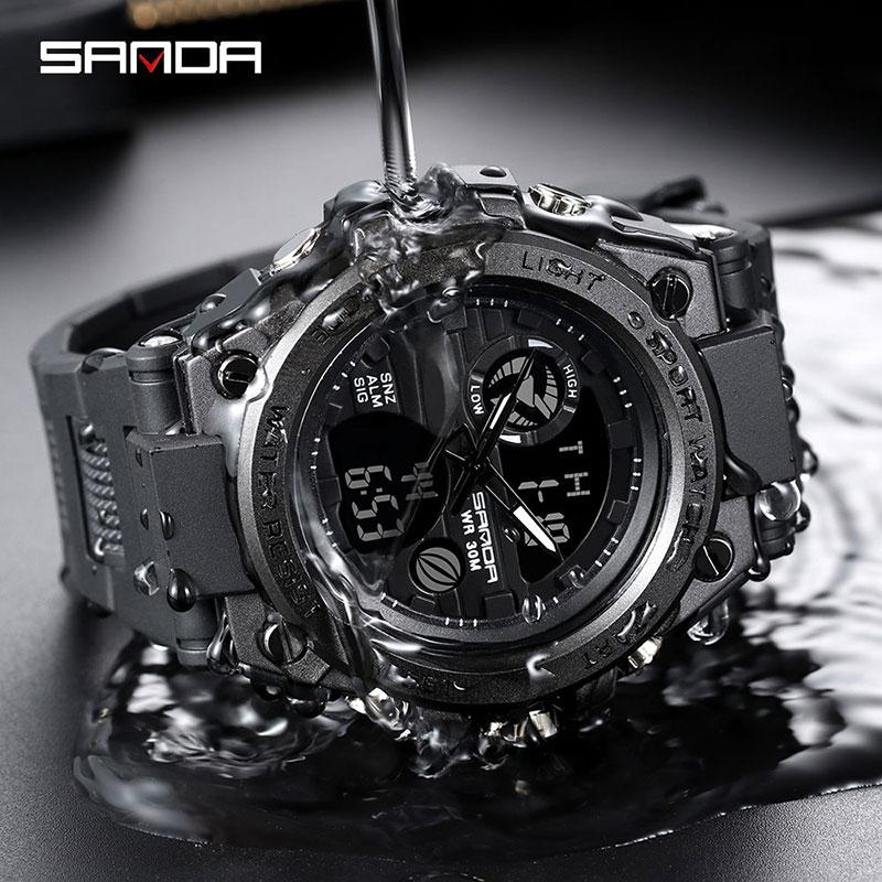 Top Brand Men Waterproof Digital Watch Sport Wristwatch Men Military Watches LED Wristwatches Dual Quartz Digital Display
