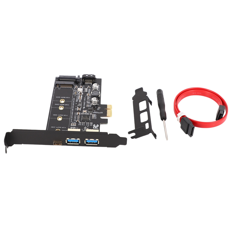 Dual <font><b>USB3.0</b></font> & Type-C M.2 PCIe Adapter M2 SSD SATA B Key to <font><b>PCI</b></font>-E Controller Converter Riser Card for 2280 2260 2242 2230 NGFF image