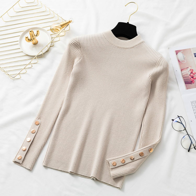 Autumn Women Long Sleeve Pure Slim Sweater Winter Knitted Turtleneck Casual Cashmere Pullover Metal Buttons Split Cuff Basic Top 8