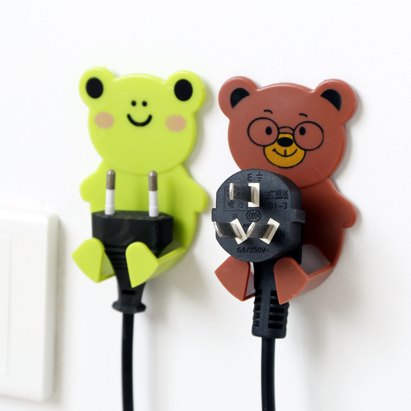 2Pcs Power Plug Holder Cute Animal Plastic Power Wall Adhesive Plug Socket Holder Hanger Hook Home Decor