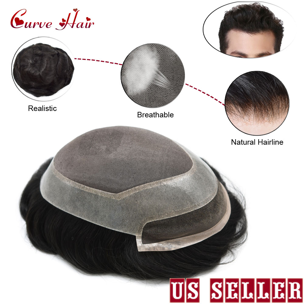 Fine Mono Clear Poly Perimeter Mens Toupee Human Hair Hand Tied Light  Medium Density Black Hair Replacement System P2-3-8