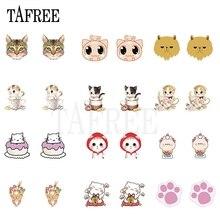 TAFREE Kawaii Cats Acrylic Clip on Earrings Epoxy Resin Heat-shrink sheets Tiny ear clip Earrings New Cartoon Jewelry for girls