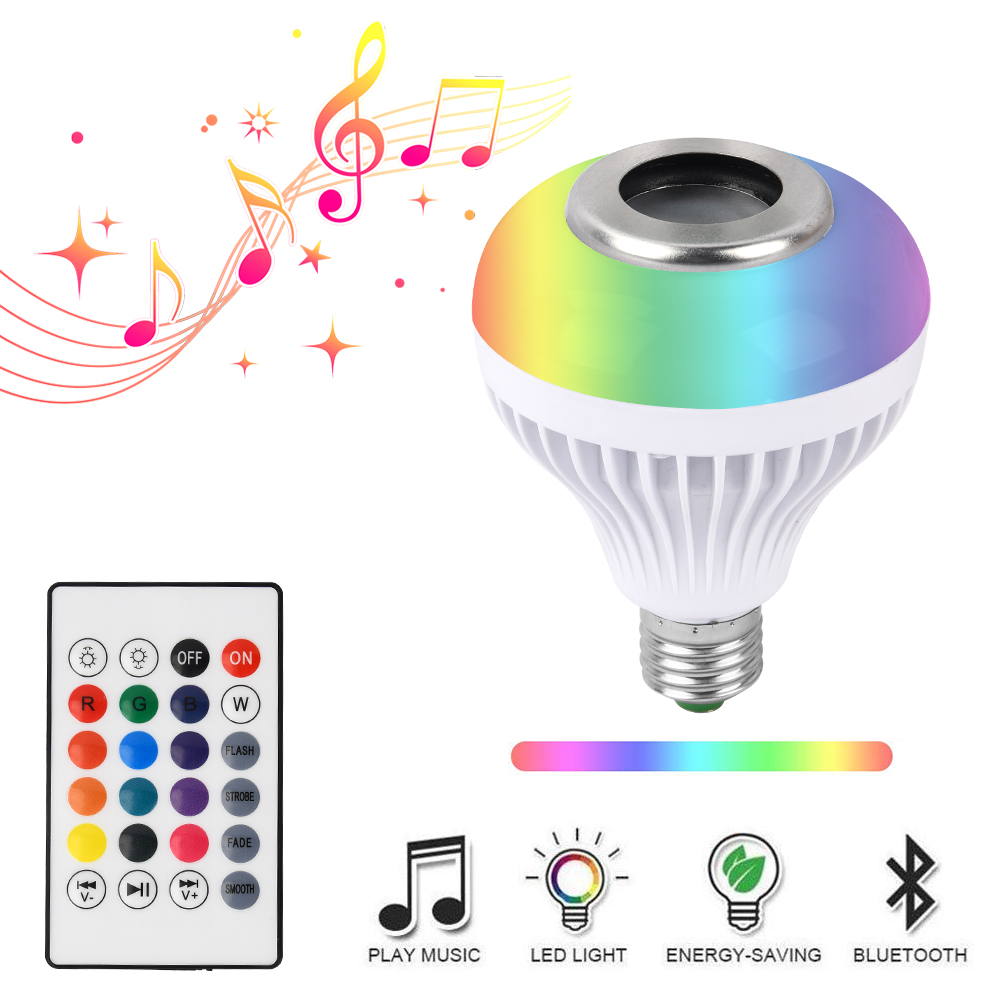 E27 LED RGB Smart Bulb 12W Dimmable Wireless Bluetooth Music Playing Magic Bulb With 24 Modes Remote Control To IOS /Android