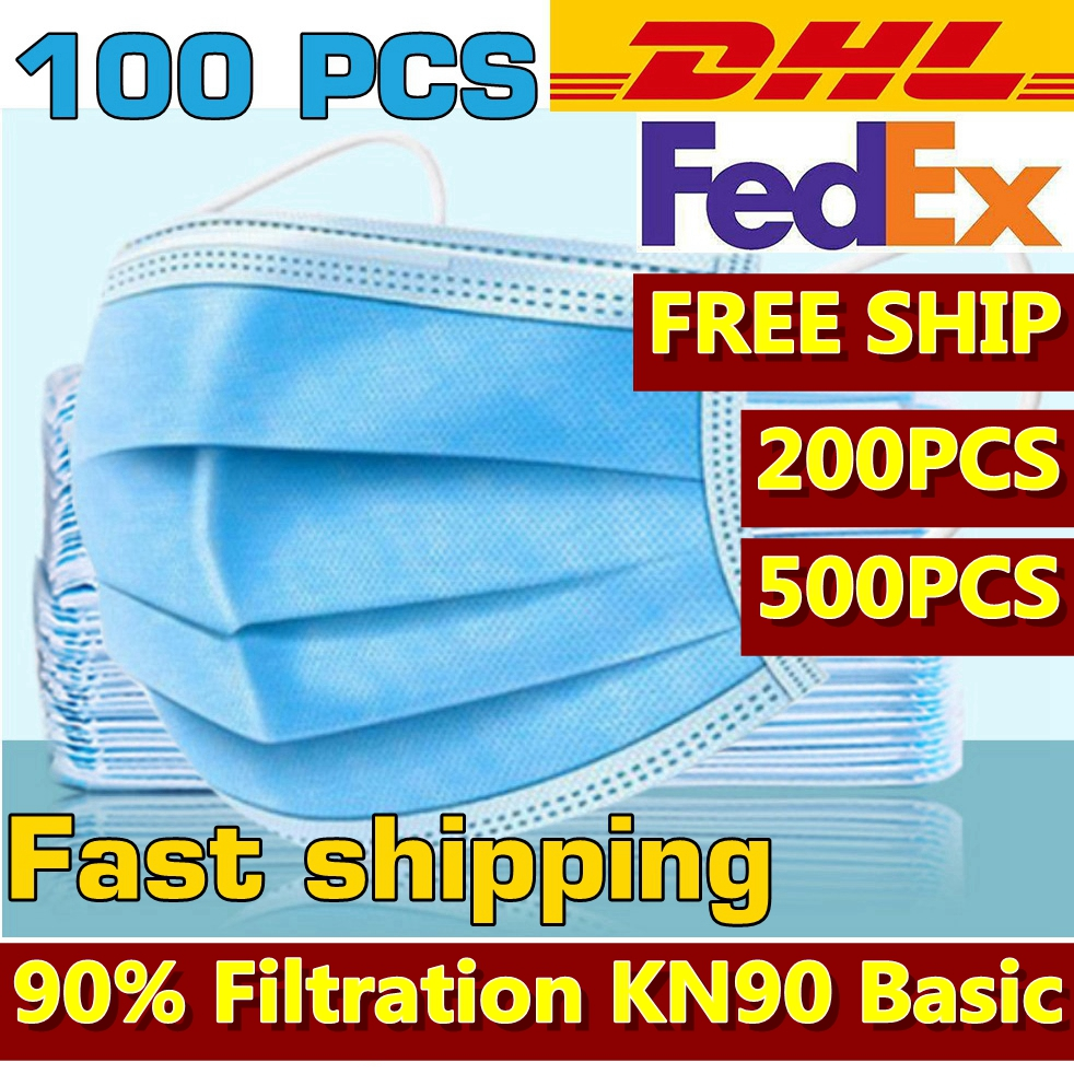 100pcs  DHL FedEx Express Fast Shipping Disposable Face Mask 3-Layer   Protective Mouth Mask Breathable Mouth-muffle