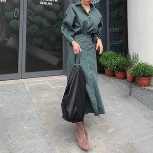 Image 3 - GALCAUR קוריאני מינימליסטי שמלת לנשים דש צווארון ארוך שרוול גבוה מותניים טהור שמלות נשי סתיו אופנה חדש 2020