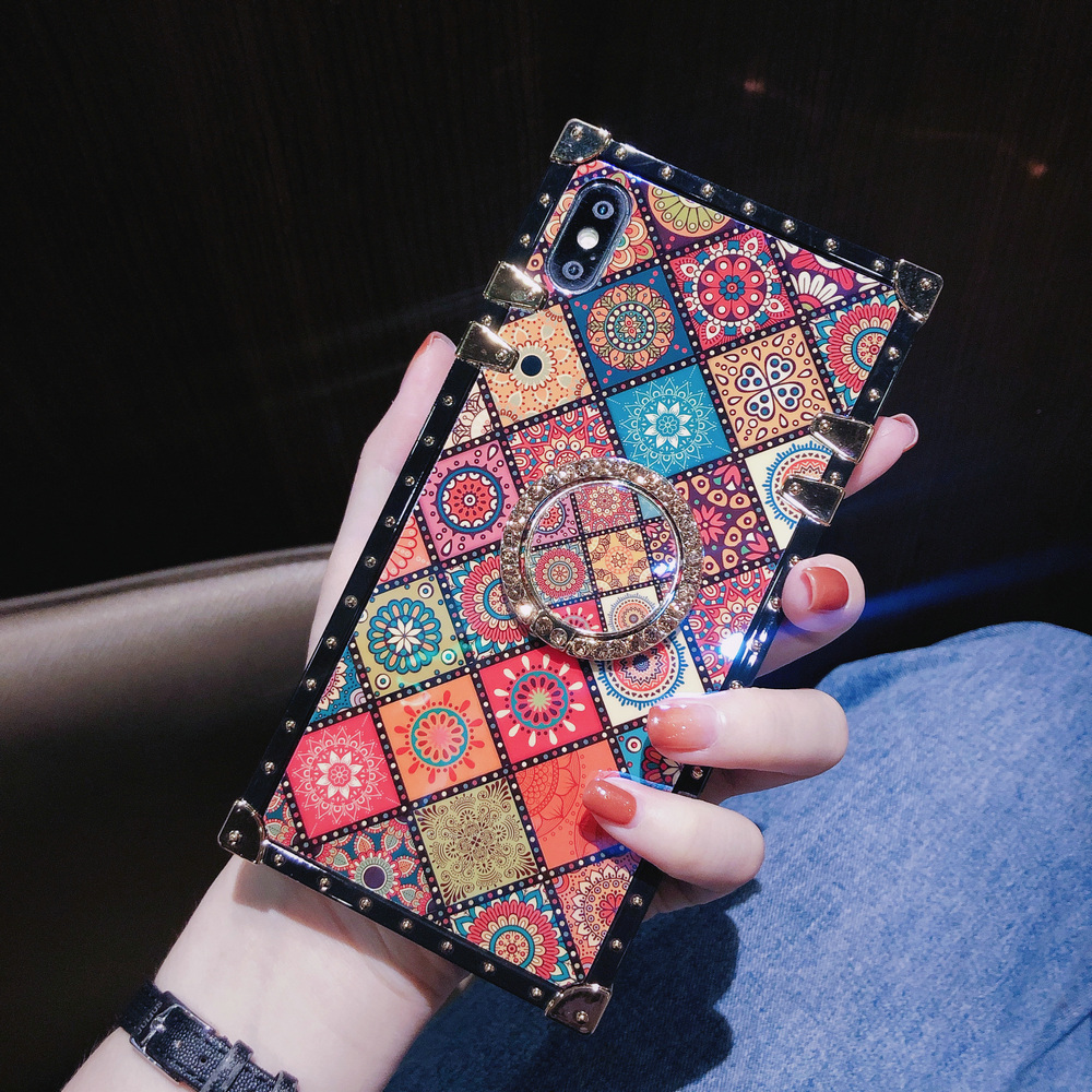 Cover For iPhone 11 Pro Max Case Square Blue Ray Chinese Diamond Ring Stand Girly Coque For iPhone X XR XS Max 6s 7 8 Plus Case (3)