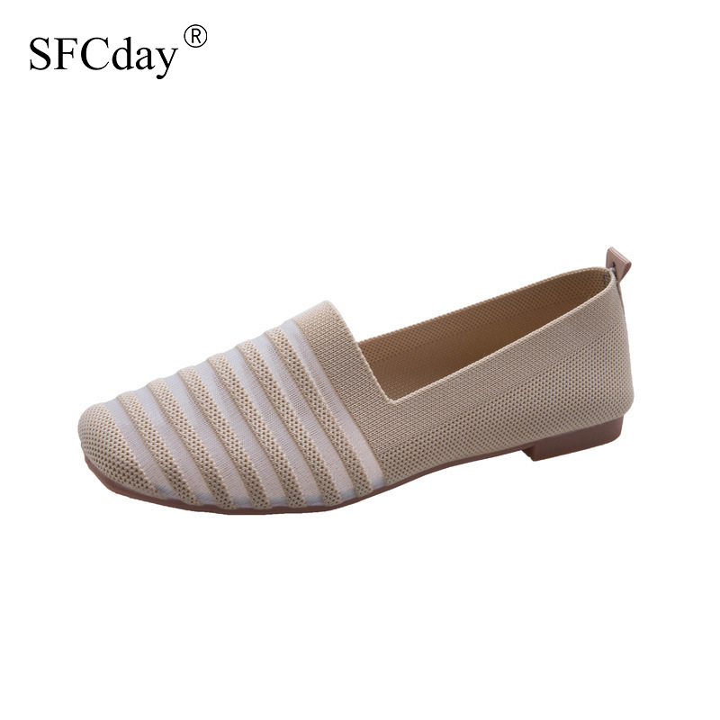 NEW 2020 Women Flat Shoes Knitting Mesh Breathable Soft Ballet Slip on Ladies Loafers Comfort Fashion Female Moccasins Footwear