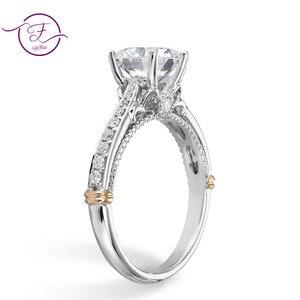 Image 2 - 14 585 ホワイトとローズゴールド 2 トーン 1ct 6.5 ミリメートルefカラーモアッサナイトの結婚指輪女性のための