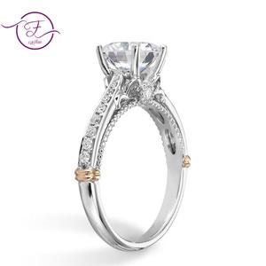 Image 2 - 14K 585 białe i różowe złoto dwa odcienie 1ct 6.5mm EF kolor obrączka Moissanite dla kobiet