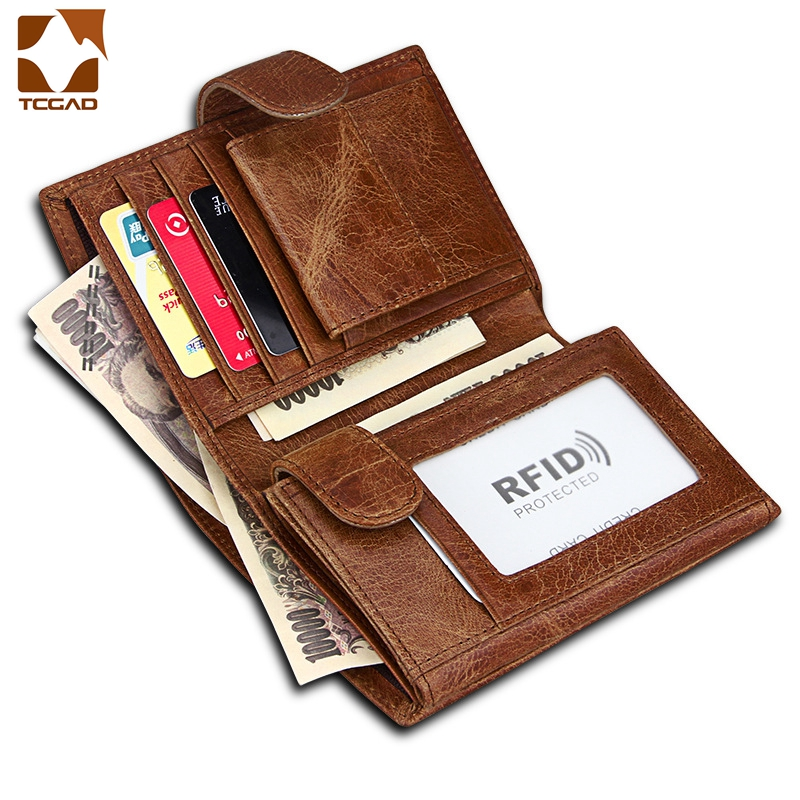Genuine Leather RFID Purse Real Cowhide 3 fold Purse short Designer Cash Coin Pocket Card Holder Clutch Bag Vintage Male Wallet