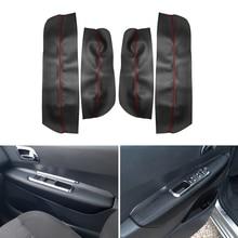 4pcs Microfiber Leather Interior Door Armrest Panel Cover Protective Trim For Peugeot 3008 2011 2012