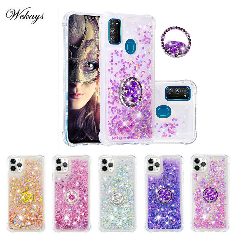 Diamond Finger Ring Cases for Samsung Galaxy J3 J4 J6 Plus J7 J8 A6 A8 Plus 2018 A20S M30S Glitter Liquid Soft Back Phone Cover image