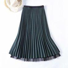 Черная, серая, зеленая, кофейная, эластичная, эластичная, высокая талия, миди, плиссированная, линия, шерсть, сетка, юбка для женщин, женские юбки, saias