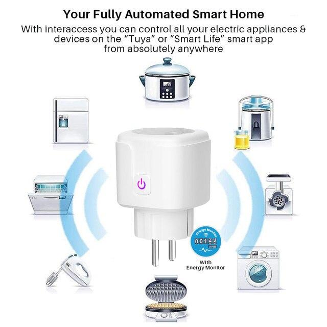 Smart Plug WiFi Socket EU 16A Power Monitor Timing Function Tuya SmartLife APP Control Works With Alexa Google Assistant 2