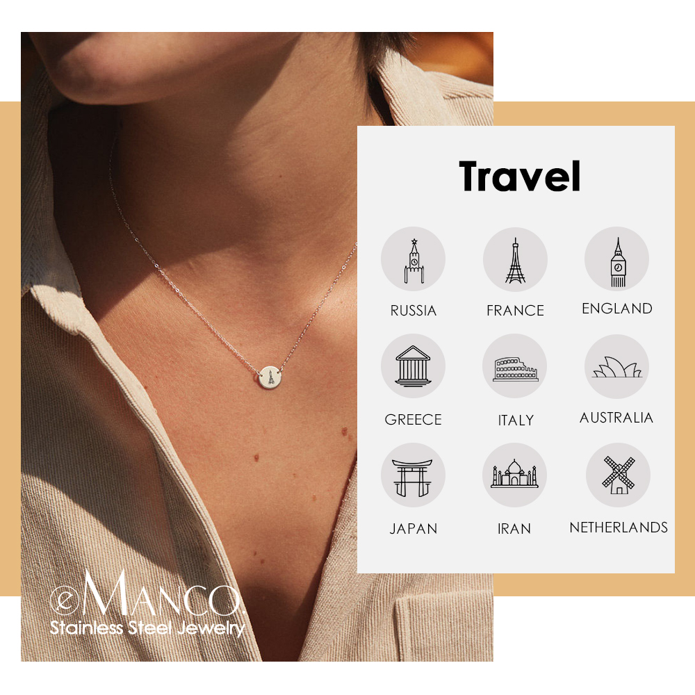 eManco Travel Memory Pendant Necklace women Gold Color 316L Stainless Steel Necklace Female Simple Necklace for women Jewelry