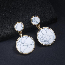 цена на New fashion handmade simple geometric marble alloy round earrings simple ladies holiday gifts