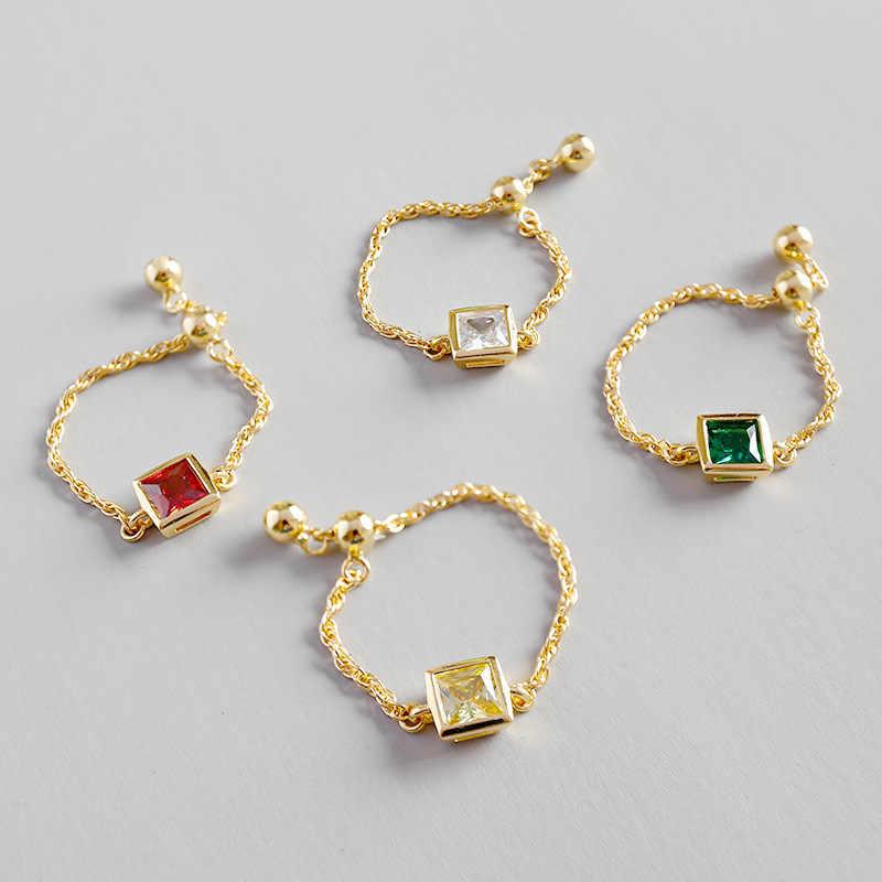 แฟชั่นเกาหลีของแท้ 100% 925 เงินสเตอร์ลิงสแควร์สีขาว,สีเหลือง,สีเขียว, red AAAA Zircon CHAIN ปรับแหวนผู้หญิงเครื่องประดับ