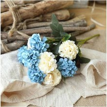 New Artificial Flowers Hydrangea Hybrid Bouquet for Wedding Decoration Silk Home Decor Fake