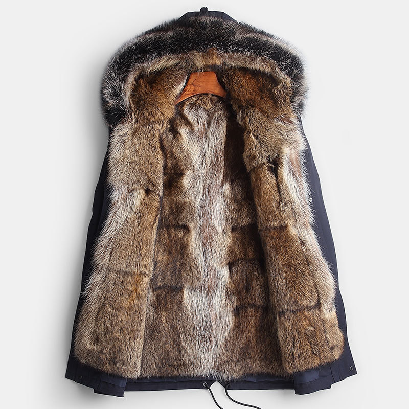 Real Winter Jacket Natural Wolf Liner Parka Men Clothes 2020 Raccoon Fur Collar Long Coat Casaco YY262