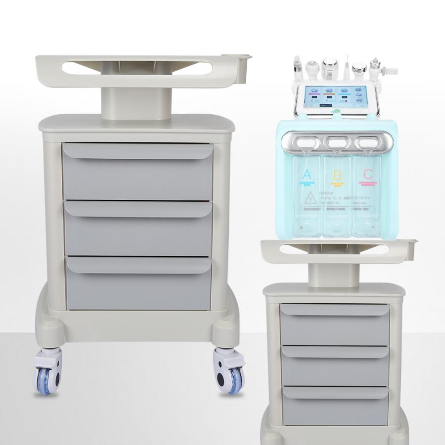 Original Stand Space Saving Beauty Trolley Stand Rolling Salon Cart Holder With 3 Tiers Draws Assembled Stand Holder