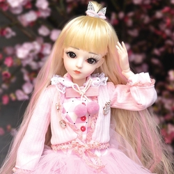 UCanaan 60CM 1/3 BJD Doll Princess Girls Dolls SD 18 Ball Jointed With Full Outfits Pink Clothes Wig Shoes Makeup Children Toys