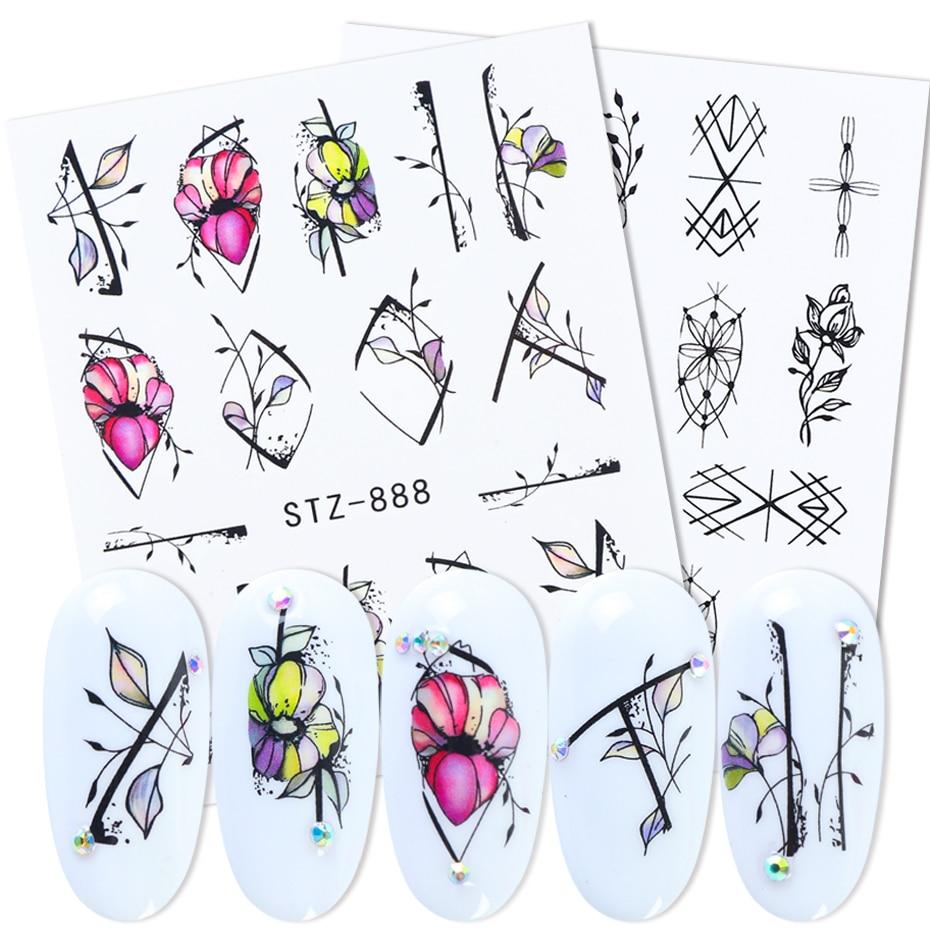 1pcs Flower Leaves Nail Sticker Design Water Transfer Decals Foil Wraps Slider For Manicure Summer Decorations LASTZ880-902-3
