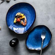 European Retro Irregular Ceramic Plate Blue Glaze Western Dinner Dish Salad Bowl Home Restaurant Main Course Kitchen Tableware