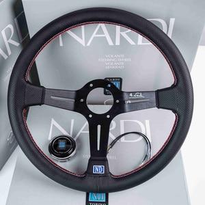 Image 4 - Volanti universali da 14 pollici in pelle ND Auto Racing e pomello del cambio volante sportivo alla deriva con mais profondo con Logo