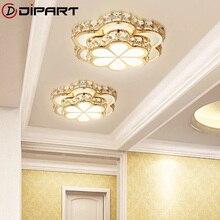 Lámpara de araña de techo de cristal para pasillo, plafón Led dorado moderno de flores, Lustre para iluminación de balcón y pasillo