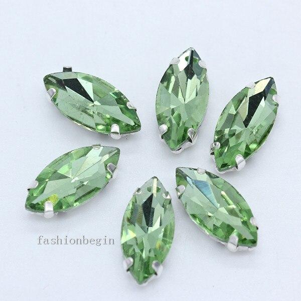 Всех размеров Наветт 24-цветное стекло камень с плоской задней частью, пришить с украшением в виде кристаллов Стразы драгоценные камни бисер с серебряной нитью, бледно-коготь кнопки для одежды аксессуары - Цвет: lt green
