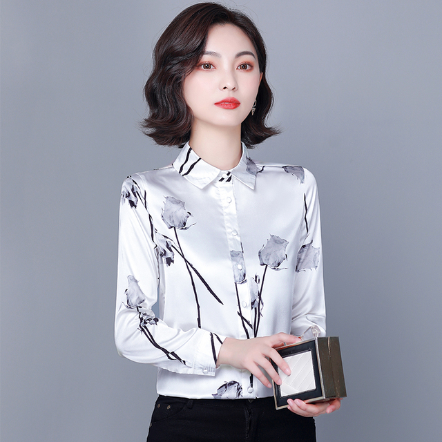 Chikichi 2021 New Spring Ladies Shirt Floral Long-sleeved Fashion Loose Oversized Satin Top Women Blouses Plus Size 4XL 1