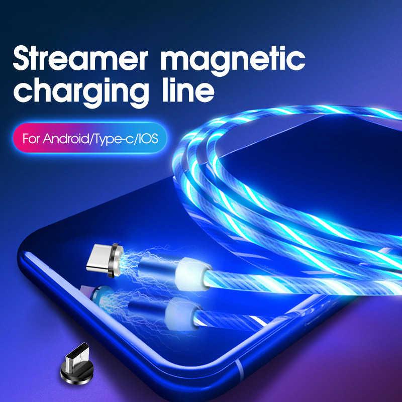 Tongdaytech Magnetic USB Charger LED Mengalir Lampu Magnet Kabel Usb Mikro Cepat TYPE C Charger untuk iPhone Xiaomi Samsung Huawei